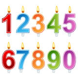 Birthday number candle set. With burning cords isolated on white Stock Photo