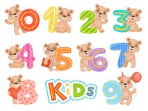 Birthday numbers bear. Party fun invitation for kids celebration teddy bear characters vector cartoon mascots. Illustration of bear with birthday numbers for vector illustration
