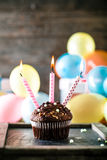 Birthday objects on wood Royalty Free Stock Photos