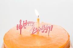 Birthday orange cake. Royalty Free Stock Image