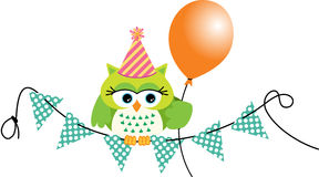 Birthday owl with balloon Stock Images