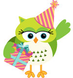 Birthday owl with gift box. Scalable vectorial image representing a birthday green owl with gift box, isolated on white Stock Photography