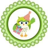 Birthday owl round label Stock Photos