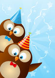 Birthday owls Stock Images