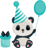 Birthday panda in blue Royalty Free Stock Images