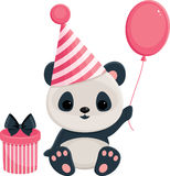 Birthday panda in pink Stock Images