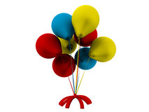 Birthday part balloons with a red bow. 3D rendered illustration of a set of colored balloons attached to a red bow. The composition is  on a white background Royalty Free Stock Photos