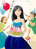 Birthday party. Two girls and boy have a good time on Birthday party Stock Image