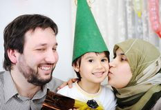 Birthday party. Happy family muslim Stock Images