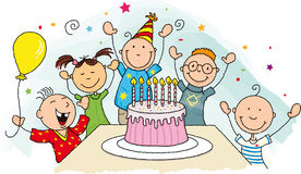 Birthday party. Happy birthday ! Group of young child around a birthday cake Stock Image