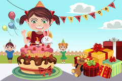 Birthday party. A vector illustration of kids celebrating a birthday party Stock Photos