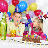 Birthday party. Two children at birthday party Stock Photos