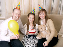 Birthday party. Party - family celebrate birthday together Stock Photos