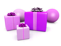 Birthday party. Three presents and two balloons for a birthday party Royalty Free Stock Photos