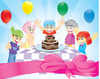 Birthday Party. The children celebrate his birthday with all of his friends Stock Images