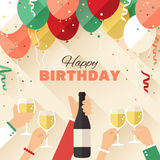 Birthday party. Announcement / poster / flyer / greeting card in a flat style Stock Photography