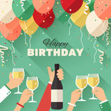 Birthday party. Announcement / poster / flyer / greeting card in a flat style Stock Photo
