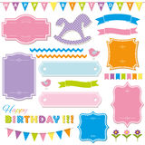 Birthday party and baby shower design elements. Stock Photos