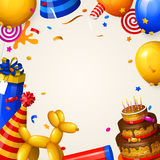 Birthday party background with balloons, cake, gift boxes, lollipop, confetti and ribbons. Place for your text. Vector. Stock Photo