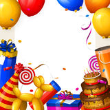 Birthday party background with balloons, cake, gift boxes, lollipop, confetti and ribbons. Place for your text. Vector. Royalty Free Stock Photography