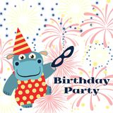 Birthday party background with cartoon hippo with mask and fireworks. Vector illustration Stock Image