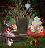 Surreal party in a fantasy forest. Birthday party background with colorful cake and candies – 3D illustration stock illustration