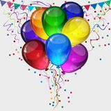 Birthday party background- colorful festive balloons. Birthday party vector background - realistic transparency colorful festive balloons, confetti, ribbons Royalty Free Stock Images