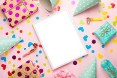 Birthday party background with party hats and streamers. stock photography