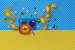 Birthday party background.Kids invitation.Idea. Birthday party background. Kids craft. Baby shower idea. Handmade invitation. Leo zodiac sign.Flat lay Stock Photo