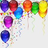 Birthday party background - realistic festive colorful balloons. Birthday party vector background - realistic transparency colorful festive balloons, confetti Stock Image