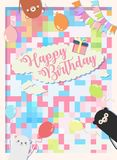 Birthday party background vector illustration and colorful with 3 cute bear.  royalty free illustration