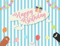 Birthday party background vector illustration and colorful with 3 cute bear.  stock illustration