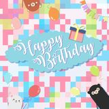 Birthday party background vector illustration and colorful with 3 cute bear.  vector illustration