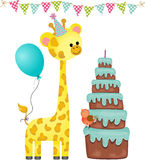 Birthday party with balloon, giraffe and cake Stock Images