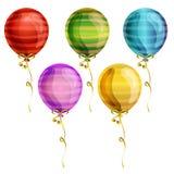 Birthday party balloon icon set. With pattern Stock Photo