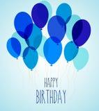 Birthday party balloons in blue. Vector illustration of birthday party balloons in blue Royalty Free Stock Photos