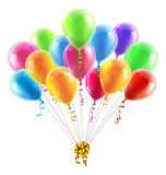 Birthday or party balloons and bow. An illustration of a set of colourful birthday or party balloons with ribbons tied together with a big gold bow Stock Images