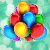 Birthday party balloons decoration festive colorful background. Birthday party balloons decoration festive colorful glossy. Happy holiday anniversary celebration Stock Photography