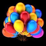 Birthday party balloons decoration multicolored red blue yellow. Colorful helium balloon bunch. anniversary celebration, holiday symbol. 3D illustration Royalty Free Stock Photography