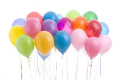 Birthday party balloons floating isolated Royalty Free Stock Photos