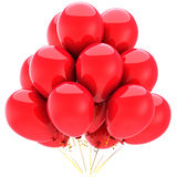 Birthday party balloons (Hi-Res). Red party helium balloons. Joyful emotions. This is a detailed 3D render (Hi-Res). Isolated on white background Stock Photography