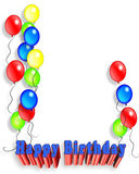Birthday Party Balloons invitation 3D stock photos