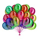 Birthday party balloons multicolored glossy different colors. Birthday party balloons multicolored glossy, holiday balloon bunch decoration colorful, festive Stock Image
