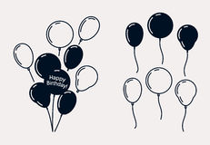 Birthday Party Balloons, Vector Silhouettes Royalty Free Stock Photography