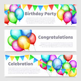 Birthday party banners with celebration rainbow balloons vector set Royalty Free Stock Images