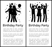 Birthday Party Banners with People Silhouettes. Birthday party banners with people black silhouettes that hug and dance cartoon flat vector illustrations set and Stock Photo