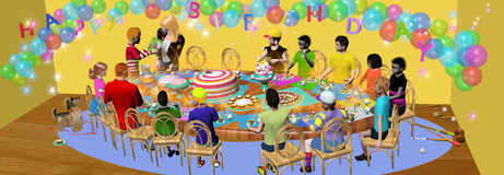 Birthday party, boy receives a present Royalty Free Stock Photo