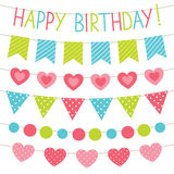 Birthday party bunting flags set Royalty Free Stock Photos