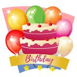 Birthday party with cake. Colorful birthday party with cake royalty free illustration
