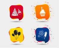 Birthday party. Cake, balloon, hat and fireworks. Birthday party icons. Cake, balloon, hat and muffin signs. Fireworks with rocket symbol. Cupcake with candle Stock Image